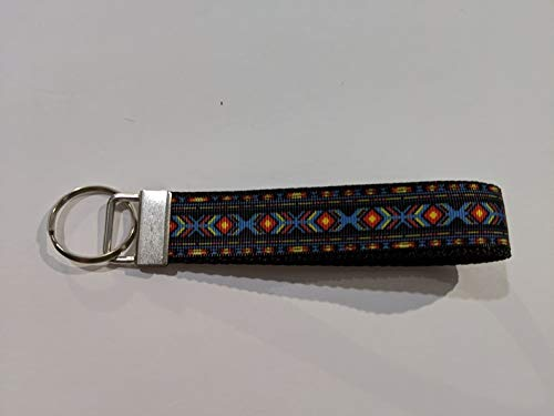Black Yellow Southwest Aztec Handmade Wristlet Keychain Red Blue