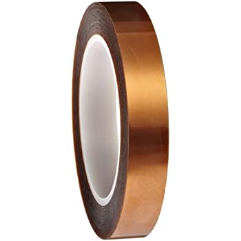 """Polyimide Double Sided Masking Tape, 3"""" Core, 500 Degree F Performance Temperature, 30 lbs/inch Tensile Strength, 1 mil Thick, 36 yds Length x 3/4"""" Width, Amber"""