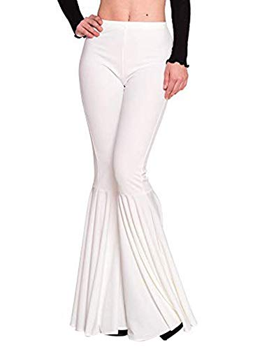 (ALLUMK Women Bell-Bottom Solid Elastic High Waist Skinny Ruffle Bottom Trousers Bodycon Pants White XXL)
