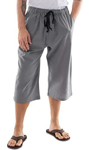 CandyHusky Men's Elastic Waist Cotton Loose Comfort Casual Lounge Capri Pants (XL/XXL, Dark Grey)