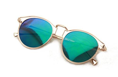 V.W.E. Womens Fashion Round Metal Cut-Out Near Flat Flash Mirror Lens Hip Sunglasses (Dark - Hip Glasses