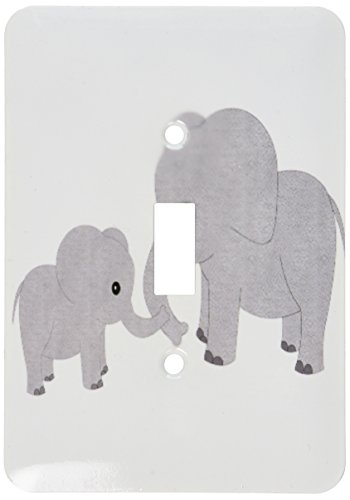 3dRose lsp_195248_1 Mom and Baby Elephant Light Switch Cover
