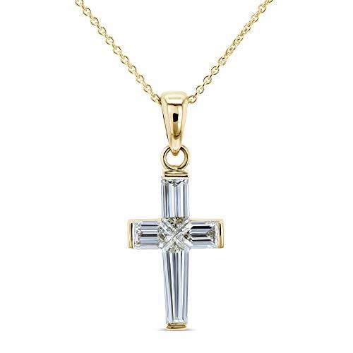 1 3/4 Carat TDW Baguette Diamond Cross Necklace 18k Pendant 14k Chain Yellow Gold (GH/VS) ()