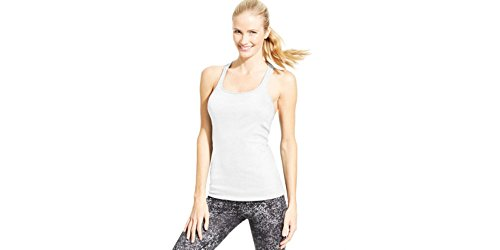 Calvin Klein Women's Performance Quick Dry Ribbed Racerback Tank Top, White, Large ()