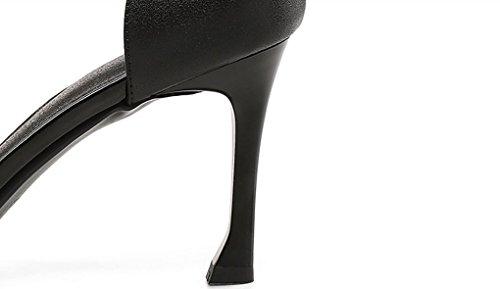 Hauts New Colorblock Chaussures Cuir Style Noir la Western Sweet Mode Open à Sandales à Élégant JAZS® Toe Fashion Talons Style en Sexy FPxPBO