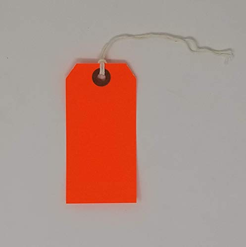 K-Kraft Gift Tags with String Options (#3 = 3.75 x 1.875 inches, PRE-Strung NEON ()