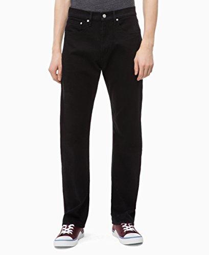 (Calvin Klein Men's Relaxed Straight Jeans, Forever Black, 40x32)