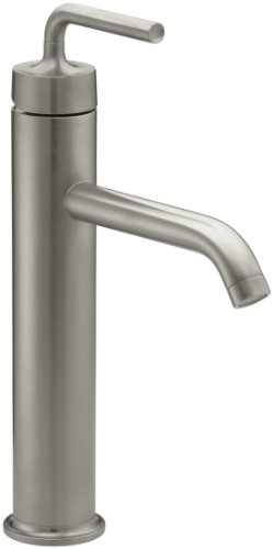 KOHLER K-14404-4A-BN Purist Tall Single Control Lavatory Faucet with Straight Lever Handle, Vibrant Brushed Nickel