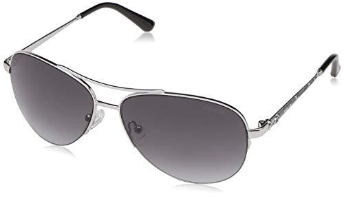 GUESS Women's Gu7468 Aviator Sunglasses, shiny light nickeltin & gradient smoke, 59 mm