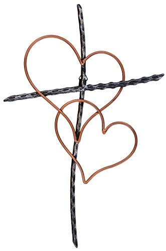Old River Outdoors Large 19 1/2 Entwined Hearts Decorative Metal Wall Cross - Joined Two Hearts, One Love Promises - Wall Cross Heart