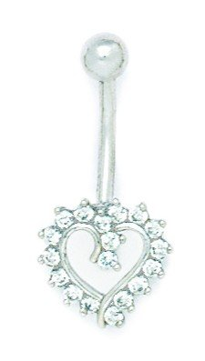 14k White Gold Cubic Zirconia 14 Gauge Dangling Heart Body Jewelry Belly Ring - Measures 28x13mm