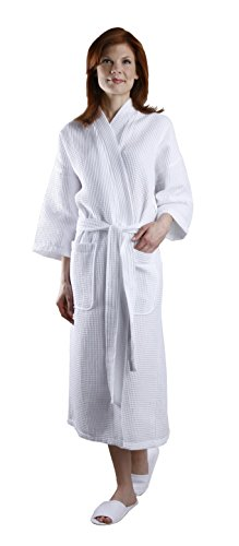 - Monarch/Cypress Square Waffle Spa Kimono Robe - Soft Light Hotel Bathrobe White