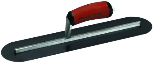 MARSHALLTOWN The Premier Line MXS25BRD 20-Inch by 5-Inch Blue Steel Finishing Trowel Fully Rounded with Curved DuraSoft Handle