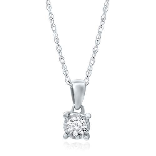 (Helzberg Diamonds 10K White Gold 1/10 cttw Diamond (I-J Color, I3 Clarity) Illusion Pendant, 18