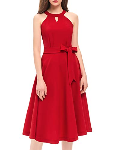 DRESSTELLS Women's Cocktail Party Dress Bridesmaid Swing Vintage Tea Dress with Cap-Sleeves Red S