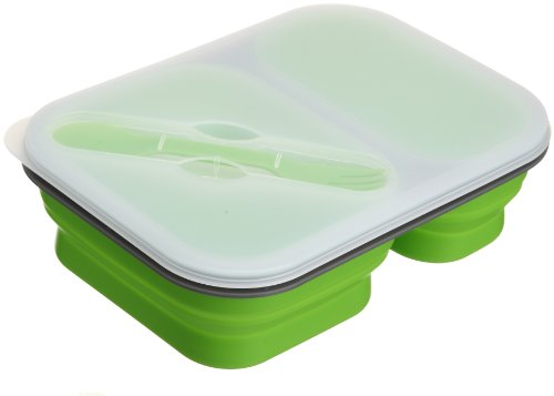 food-grade-lexington-limited-silicone-collapsible-lunch-box-green-2-compartment-with-3-in-1-spork