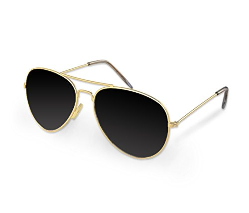 Gold Aviator Sunglasses - Costume Glasses - 70's Style Sunglasses Party - Glasses 70 Style