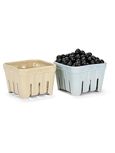 Set of 2 Assorted Colors 4 Ceramic Market Fruit Berry Basket Bowls American Chateau