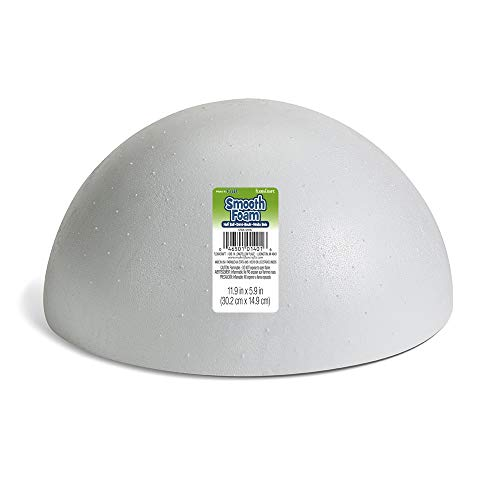 Hemisphere Collection - FloraCraft SmoothFoam Hollow Half Ball 6 Inch x 12 Inch x 12 Inch White