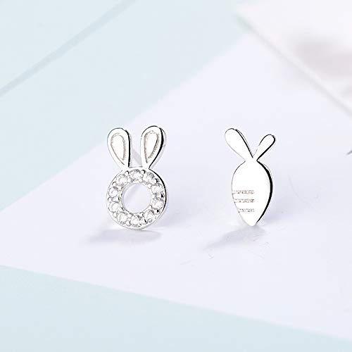 Sterling Silver Platinum Plated Cubic Zirconia irregular AB Style Lovely Rabbit Ear and Carrot Stud Post Earrings