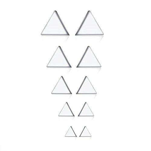 Triangle Amethyst Earrings - Herinos Titanium Stud Earrings Set Cubic Zirconia 5 Pairs Stainless Steel Triangle Earrings for Women Girls