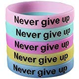 SpringPear 5X Silicone Sport Fitness Wristbands with Words Never give up Glow in The Dark for Unisex Adults Teenagers 5 PCs in Blue Yellow Green Violet Pink ()