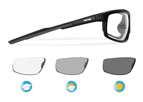 Bertoni Sports Photochromic Sunglasses Cycling Ski Running Golf - Antifog Lens - Adjustable Nose - F180A Mat Black - ()