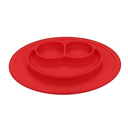 Silicone Non Slip Baby Snack Mat Happy Toddler Placement Suction Table Plate Tray (Red) HOVUK