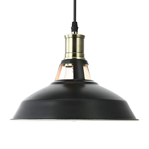 Light Society Danica Pendant Light, Matte Black Shade with White Interior and Antique Brass Finish, Vintage Modern Farmhouse Lighting Fixture (LS-C102) -
