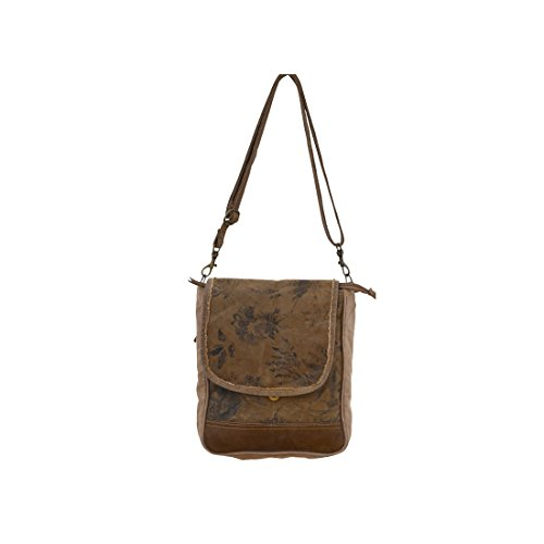 Clea Ray Recycled Beige Green Canvas Brown Leather Floral Print Small Messenger Cross Body Bag, 9.5 x 11 Inches