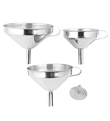 Fresh Australian Kitchen Funnels. 3x Stainless Steel Kitchen Funnels with Removable Strainer.