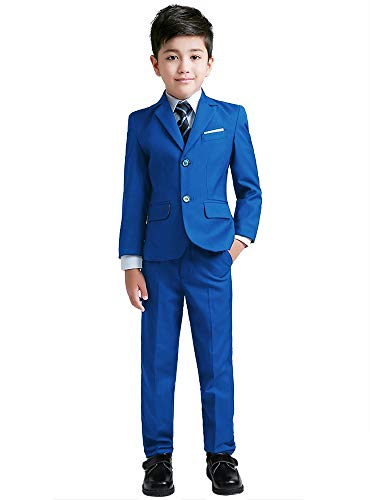 YuanLu Suits for Boys Toddler Tuxedo Slim Fit Teen Clothes Royal Blue Size -