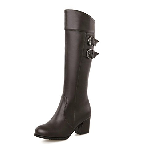 XIAOGANG H HFour Seasons Women (marrón.) Negro. Rojo. Blanco doble cinturón hebilla zapatos de goma botas de tacón alto hembra, brown, 39