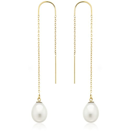 14K Yellow Gold Earring Threaders with White Cultured Freshwater Pearls