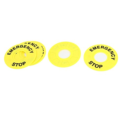 5Pcs Yellow Emergency Stop Pattern 22mm Push Button Switch Panel Label
