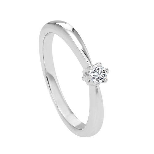 Diamond Line Damen-Diamant-Ring 585 Weißgold 1 Diamant ca. 0,10ct. getöntes weiß Lupenrein (gW-LR)