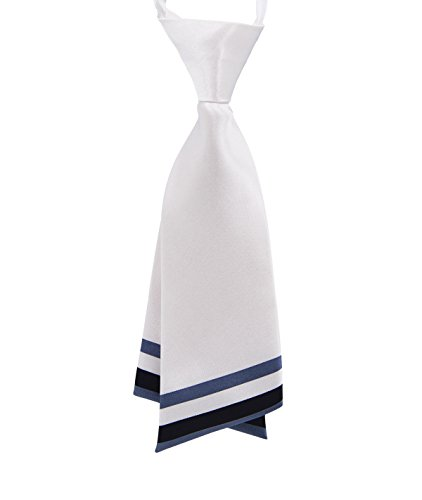 GZZOU Women Tie, Ladies Fashion Solid Color Small Tie School Style Silk Necktie (White) (White Ties Color School)