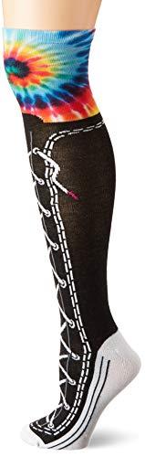 K. Bell Women's Knee High Socks, Tie Dye Sneaker (Black), Shoe Size: 4-10