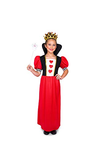 Red Queen of Hearts Costume - Halloween Kids Royalty Dress with Crown, -