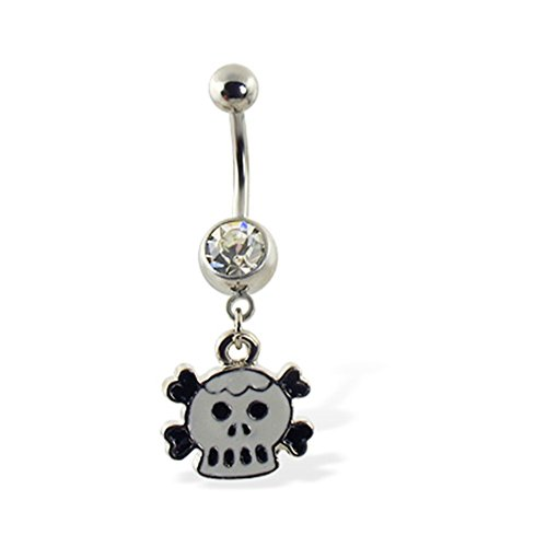 MsPiercing Belly Ring With Dangling Cartoon Skull And -