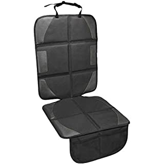 Luilanc Car Seat Protector with Thickest Padding,Waterproof 600D Fabric Child Baby Seat Protector with Storage Pockets,Non-Slip Pets Cover Leather Reinforced Vehicle Seat (1Pack, Black)