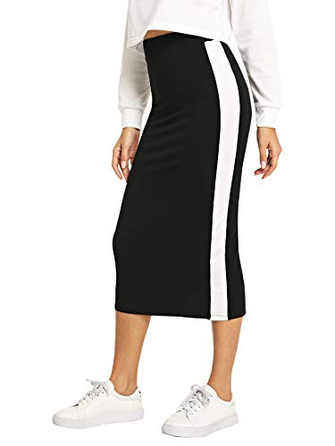 SheIn Women's Elegant Grid Print High Waist Bodycon Pencil Midi Mid-Calf Skirt Black-White