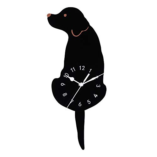 Quaanti Creative Cute Dog Wall Clock Home Decor Watch Way Tail Move Silence,Wall Clock for Kids Baby Room Decor,Gift Ideas for Kids, Girls, Boys, Teens - Cartoon Unique Art Design (Black)