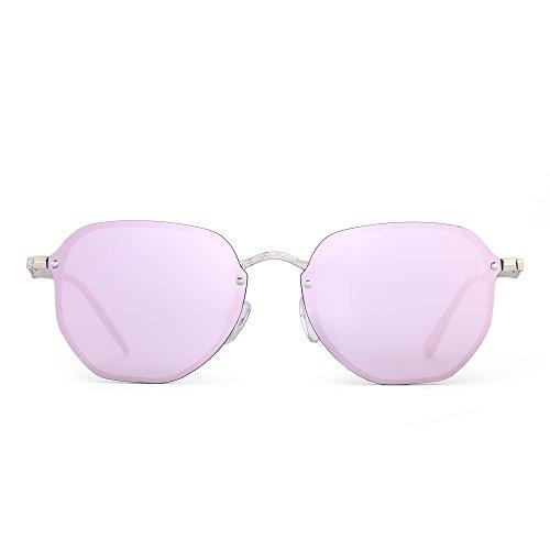 Mirrored Rimless Small Sunglasses Clear Polygon Metal Flat Eyeglasses Women Men (Gold / Mirror - Pink Mirrored Sunglasses Hot