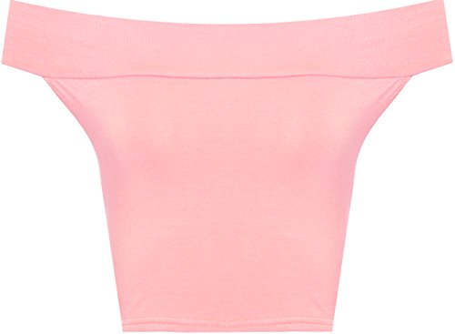 WearAll Women's Off Shoulder Plain Short Crop Bandeau Open Cowl Neck Top - Pink - US 8-10 (UK 12-14)