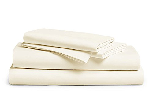 Living Lizanne Sheets | Soft Secure Fitted Sheet, 100% Cotton, 500 Thread Count, Twin Size, Vanilla