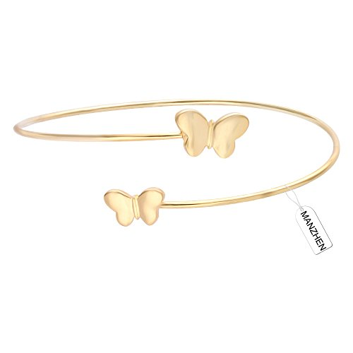 MANZHEN Gold Rose Gold Silver Adjustable Butterfly Cuff Wire Bangle Bracelets Stackable Bangle for Women