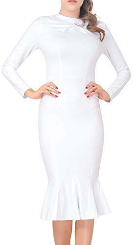 Women's Elegant Party Cocktail Work Fishtail Mermaid Midi Dress 6 Off White