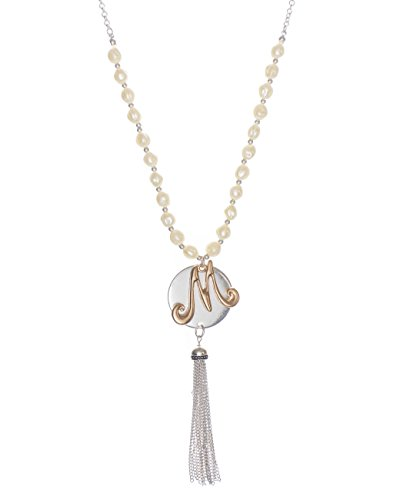 (Jewelry Nexus M Monogram Two-Tone Medallion Necklace with Imitation Pearls & Dangling Tassle)