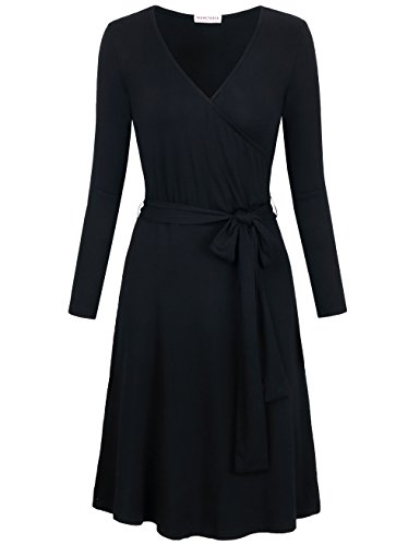 MOOSUNGEEK Wrap Dresses for Women Knee Length, Office Work Pencil Bandage Self-tie Surplice Faux Wrap Dress Black M ()